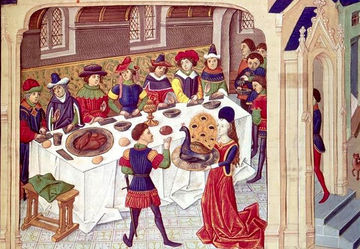 moyen-age_banquet_jeux_de_cour_cruaute_poesie_realiste_satirique_critique_eustache_deschamps