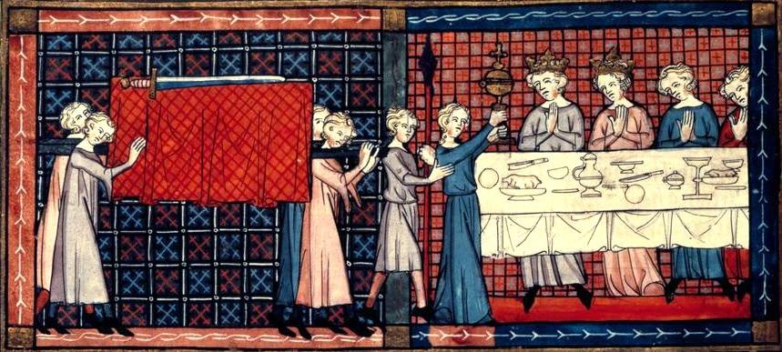 Perceval, le roman de Graal, Chrétien de Troyes Enluminure du XIIe siècle