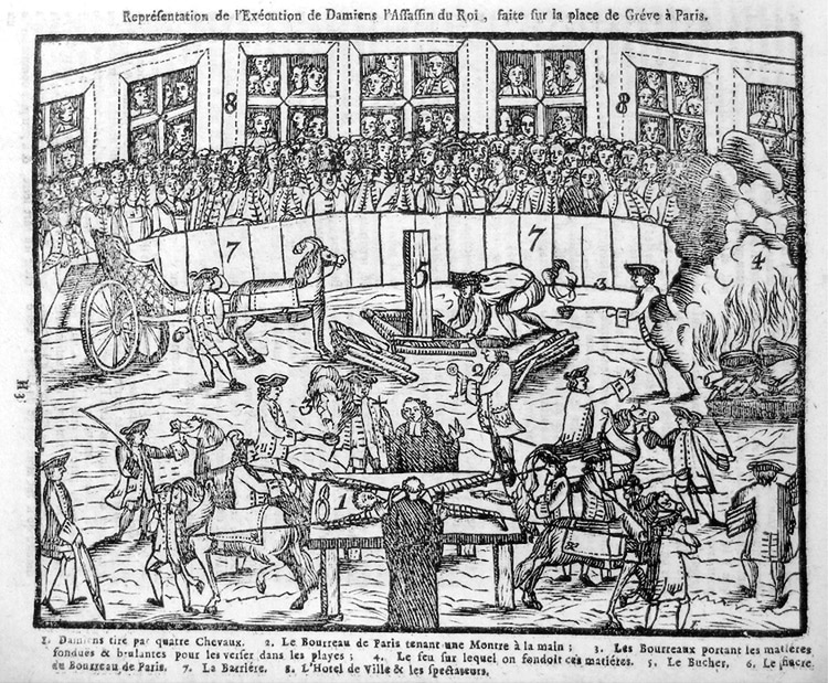 Exécution en place de Grève, 1757, gravure sur bois, anonyme.tiré d'un Almanach de colportage. Source : criminocorpus.org