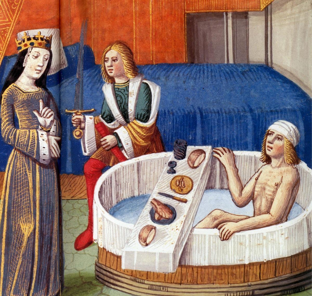 Tristan dans son bain, miniature de 1480.