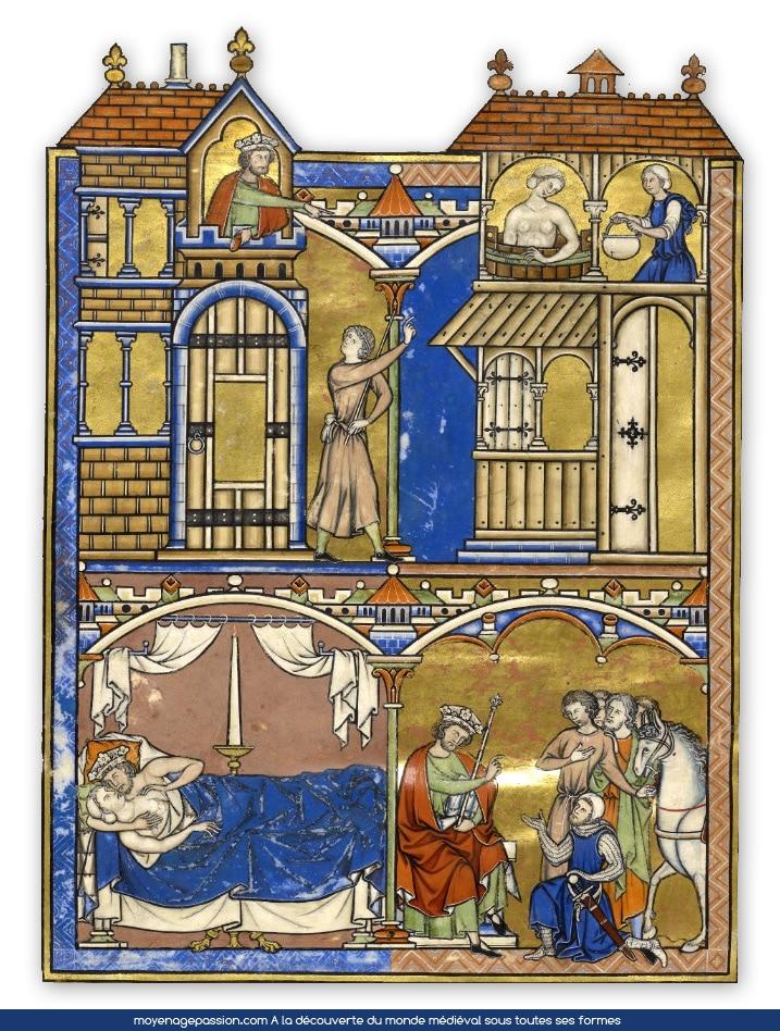 """Manuscrit ancien, bible de Maciejowski, ancien testament, Feuillet 41V """"Le roi David et l'adultère de Bethsabée"""