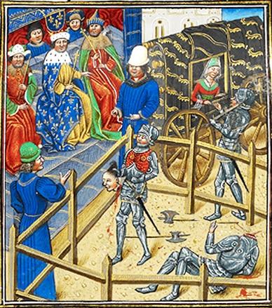 duel_judiciaire_enluminure_jean_de_carrouges_jacques_le_gris_justicie_medievale