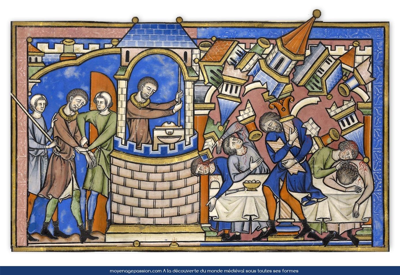 Manuscrit ancien, bible Maciejowski, Samson en prison, Feuillet 15v,