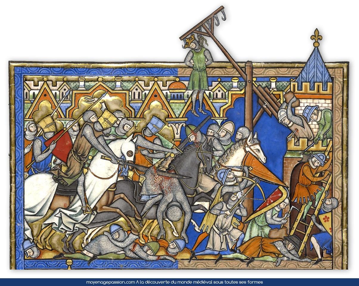 Manuscrit ancient, Bible de Maciejowski, moyen-âge central, Feuillet 10V, Joshua et l'attaque de la cité.