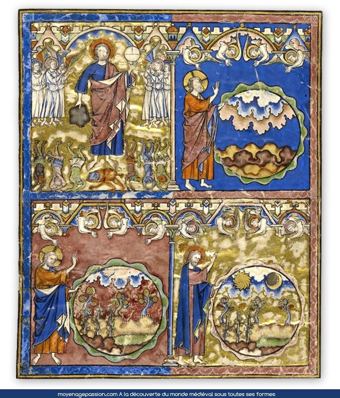 Manuscrit ancien: bible Maciejowski, la genêse , feuillet 1R, enluminure,miniature, moyen-âge central