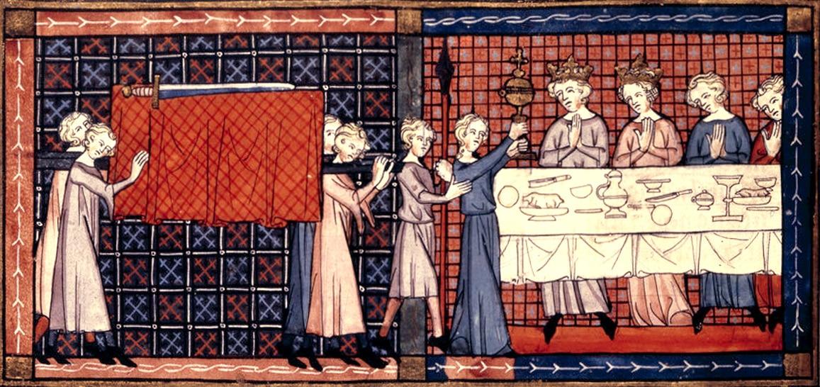 Perceval et la quête du Graal, à la cour du Roi Pêcheur. Enluminure française du XIVe