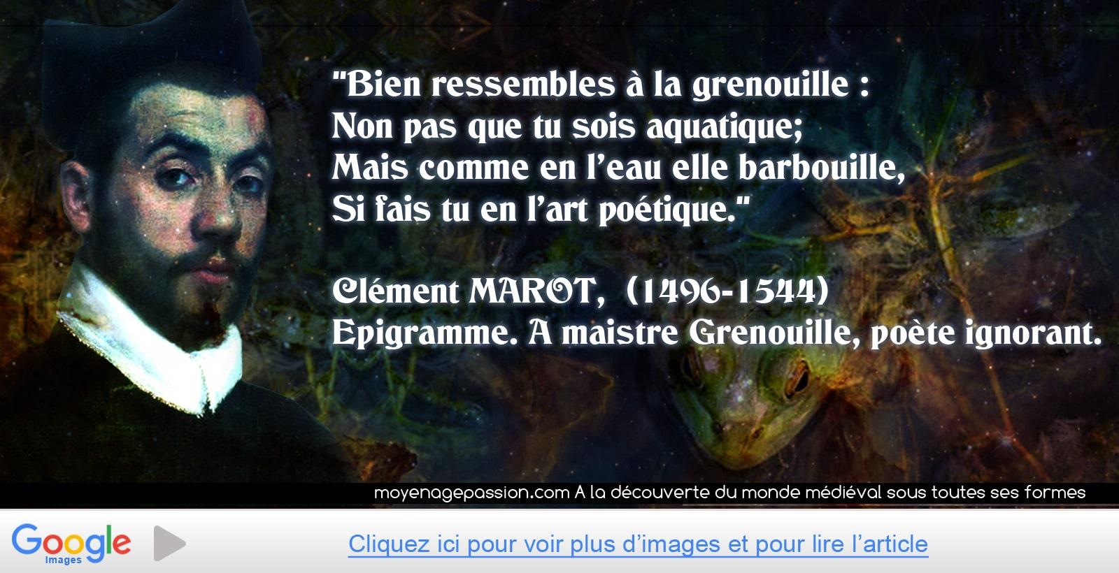 citation_medievale_epigrammes_poesie_moyen-age_tardif_debut_renaissance_humour_Clement_Marot_Maistre_Grenouille