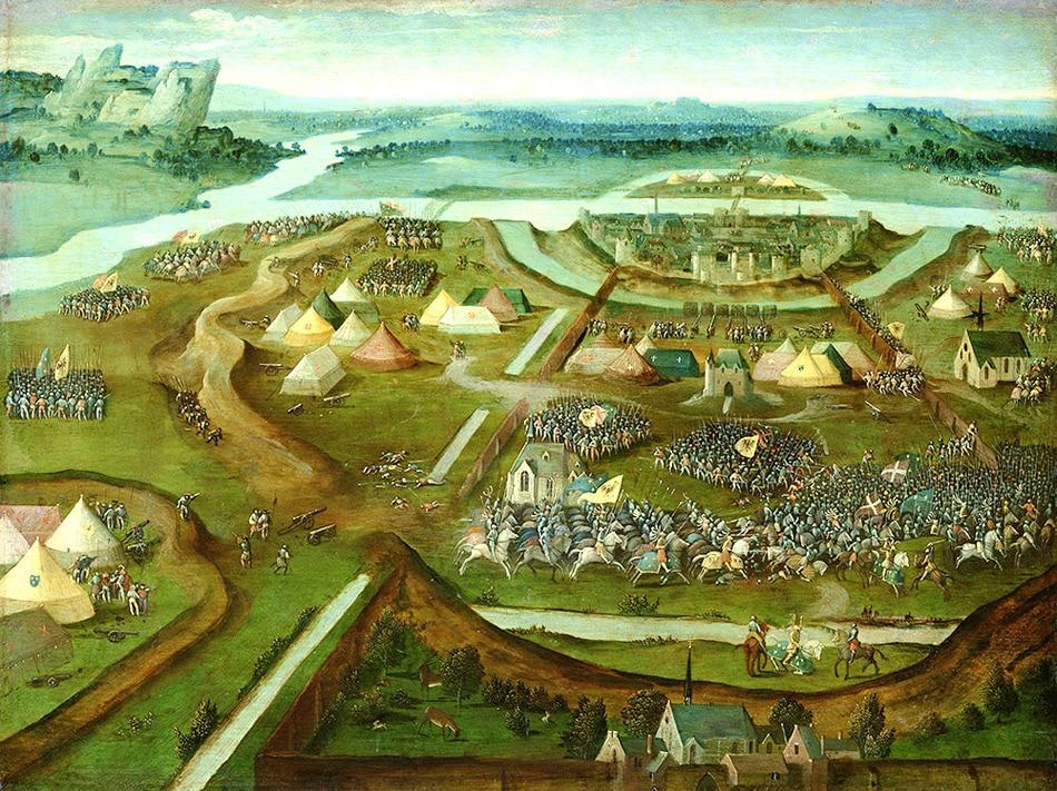 La bataille de Pavie, Huile de Joachim Patinier 1530, Musée de Vienne, Autriche.