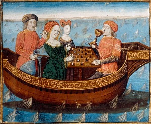 """""""Le philtre d'amour"""". Enluminure (1470) Manuscrit de Gautier de Map, Tiré du """"Livre de Messire Lancelot du Lac"""" de Gautier de Map, Ms. français 112, fol. 239, BnF"""