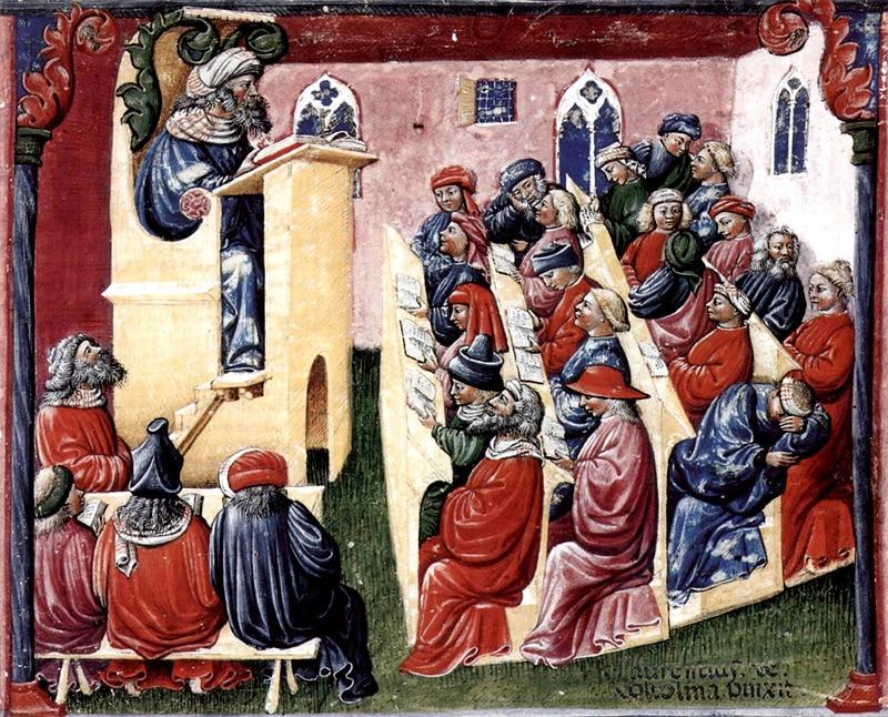 Enluminure, Université médiévale, Bologne, XIVe siècle.