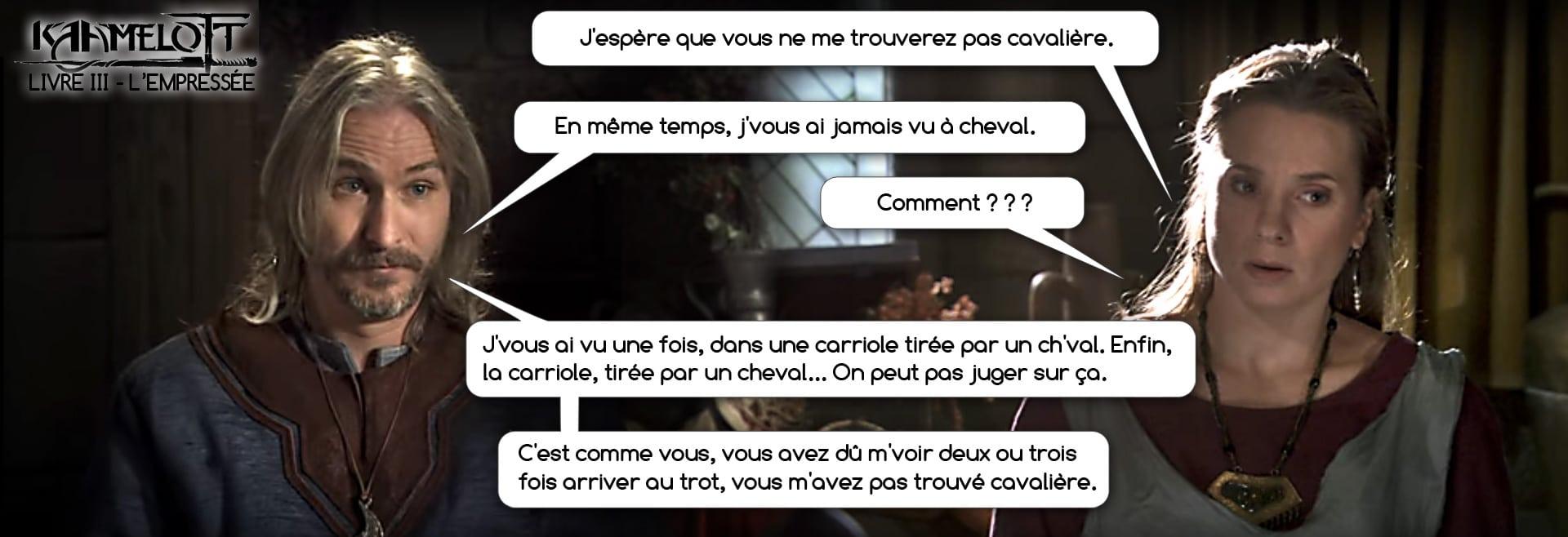 Quand Perceval (Franck Pitiot) s'empêtre dans son incompréhension face à sa promise empressée (Vannessa Guedj)