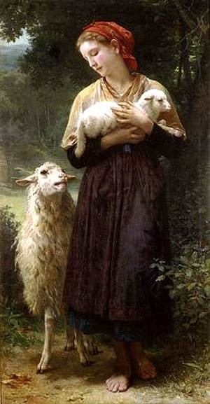 pastourelle_medievale_marcabrun_et_bergere_peinture_XIXe_William_Bouguereau