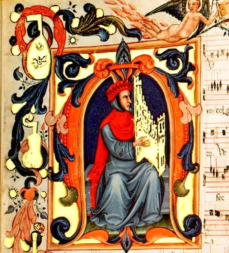 Francesco Landini, compositeur italien, Ars Nova, enluminure, portrait, Squarcialupi Codex (XVe siècle)