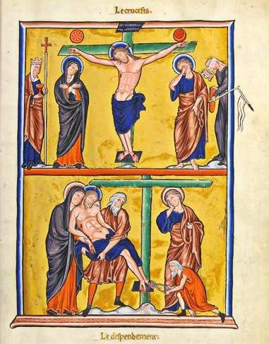 manuscrit_ancien_psautier_ingeburge_paques_moyen-age_chretien_crucifixion_-crucifiement_monde_medieval