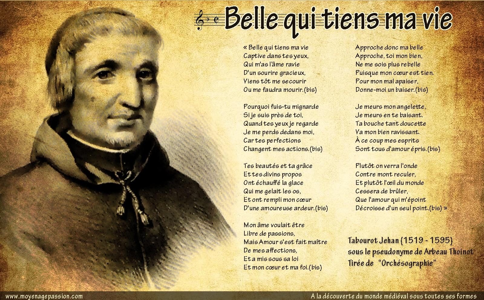 chanson_renaissance_kaamelott_belle_qui_tient_ma_vie_jehan_tabourot_Thoinot_Arbeau