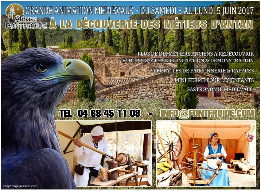 fetes_animations_gastronomie_medievale_fontfroide_abbaye_narbonne_agenda_week_end_metiers_anciens_fauconnerie_moyen-age