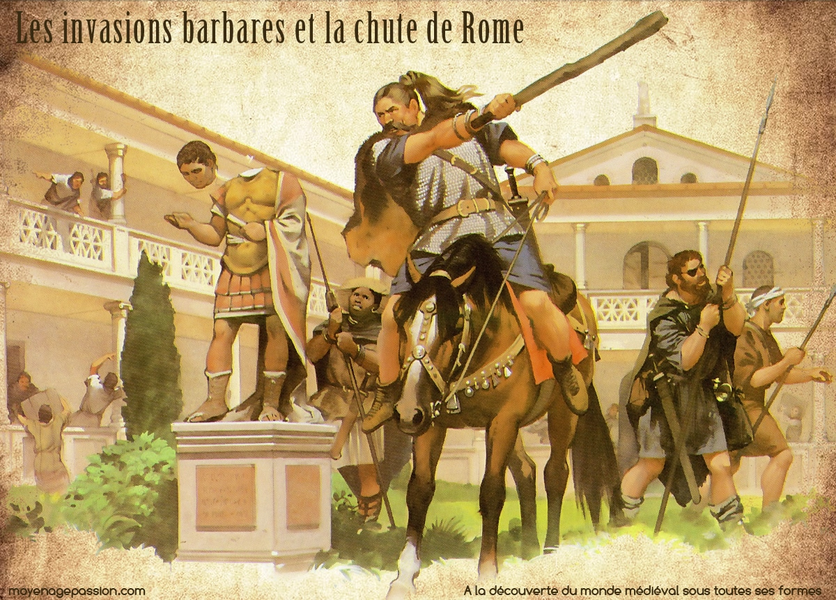 Illustration d'Angus Mc Bride. Visigoths mettant à mal l'empire romain