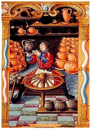 metiers_anciens_monde_medieval_moeyn-age_artisan_potier_ceramiste_tour_baton