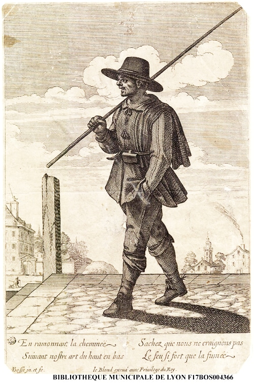 Ramoneur, gravure d'Abraham Bosse (1602-1676)