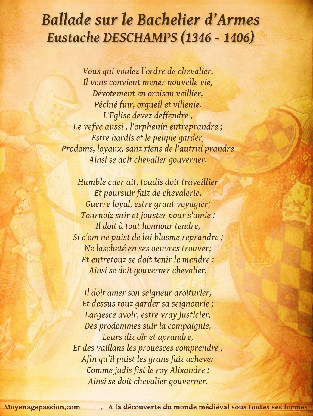eustache_deschamps_poesie_ballade_medievale_chevalier_valeur_chevalerie_bachelier_armes_moyen-age_tardif