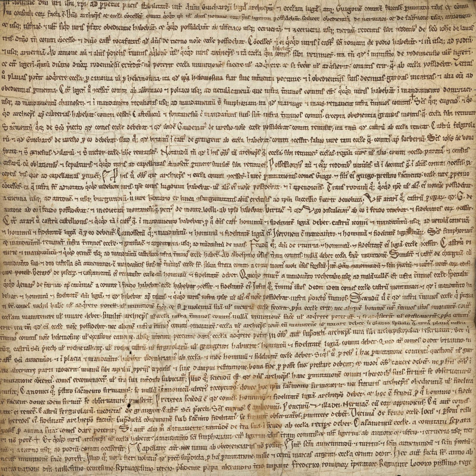 Permutation 1173 - le traité d'échange entre le Comte de Forez et l'Eglise de Lyon (source Chapitre de Lyon — Archives départementales du Rhône )