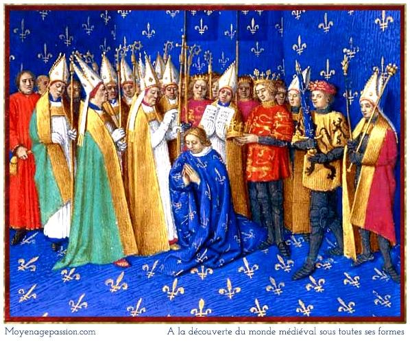1179, Sacre de Philippe-Auguste à Reims - Grandes Chroniques de France par Jean Fouquet, XVe, BnF MS Français 6465