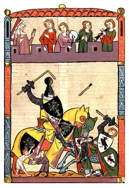 tournoi_medieval_chevalier_enluminures_miniatures_valeurs_chevalerie_moyen-age