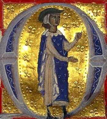 Bernard de Ventadour, enluminure, Manuscrit 12473 , BnF (XIIIe siècle)