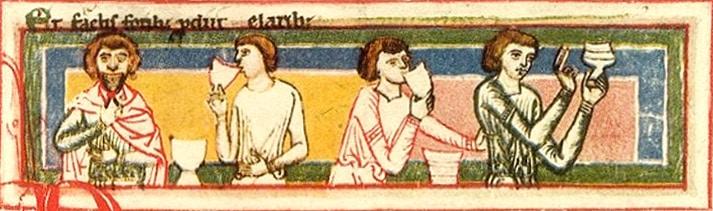 Codex Buranus, détail miniature, poésie goliardique, chanson à boire, moyen-âge central