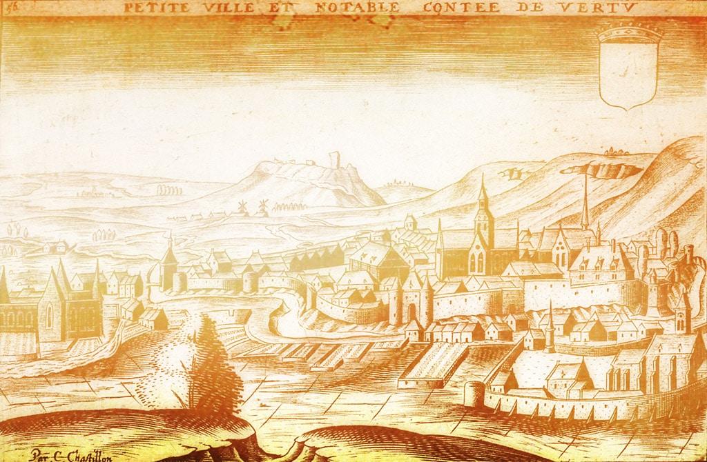 Vertus en Champagne, la ville de Eustache Deschamps, gravure du XVIIe par Claude Chastillon