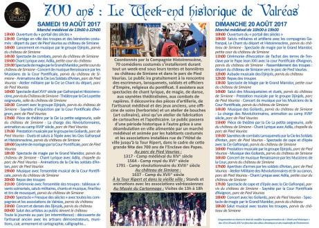 agenda_programme_fete_animation_medievale_historique_toutes_epoques_valreas_Vaucluse_Provence
