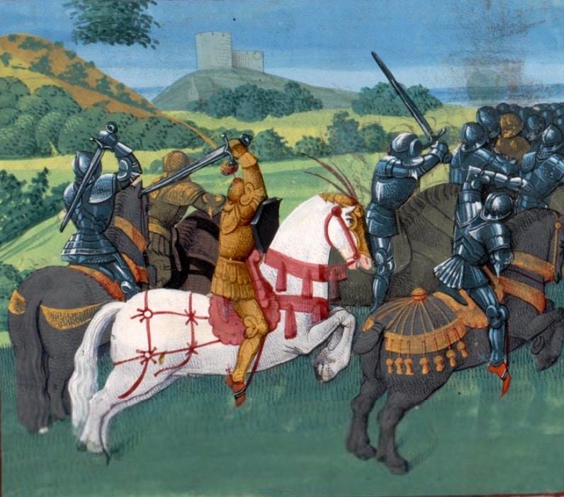 enluminure_legendes_arthuriennes_tristan_yseult_combat_chevalier_Ms_fr_189_bibliotheque_geneve