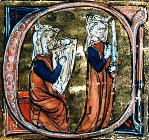 Enluminure tiré du roman de Tristan en prose, manuscrit de Vienne, MS 2542, v. 1300