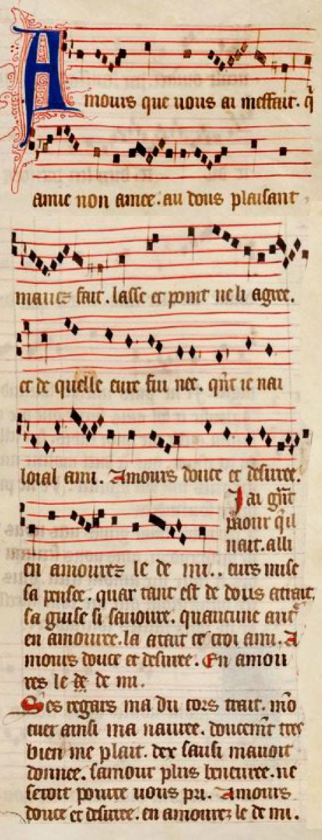 manuscrit_ancien_FR_146_amours_meffait_jehannot_lescurel_compositeur_moyen-age_XIII_XIVe