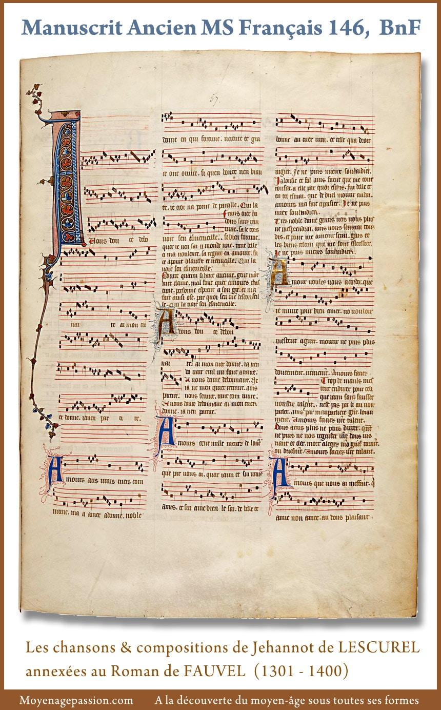 musique_poesie_medievale_manuscrit_ancien_francais_146_roman_fauvel_jehan_lescurel_XIVe_XIIIe