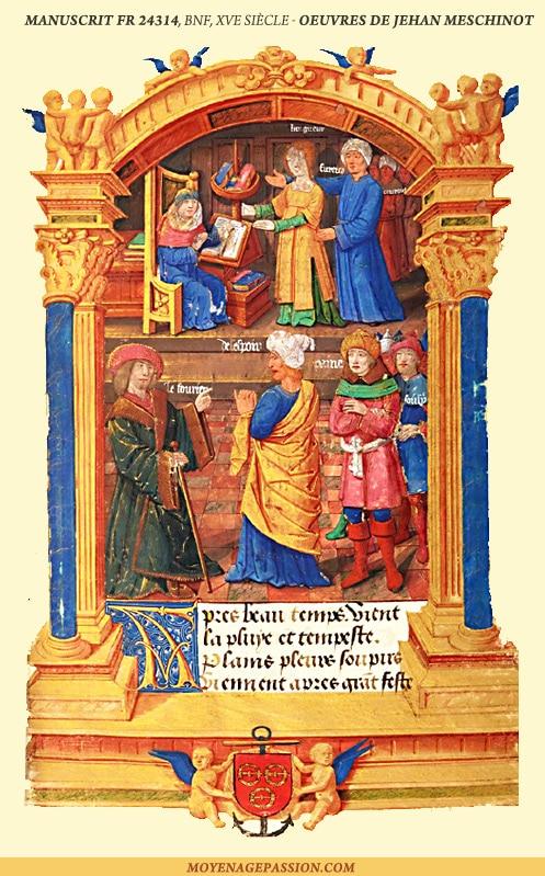 poesie_medievale_XV_Jean_Meschinot_poete_breton_manuscrit_ancien_miniature_enluminure_MS_fr_24314