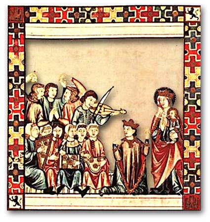 Alphonse le Sage, médiateur entre la Sainte Vierge et les musiciens, Cantigas Santa Maria, Miniature du Manuscrit MS TI1 de l'Escorial