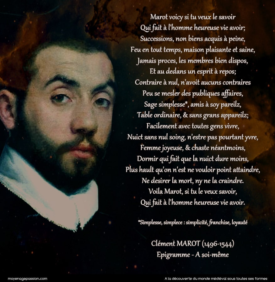 clement_marot_poesie_courte_medievale_epigrammes_vie_heureuse_poete_latin_Martial