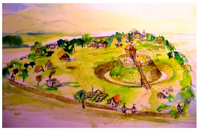 Motte castrale de Lassigny, archéosite expérimentale, Aquarelle de JC TOULLEC