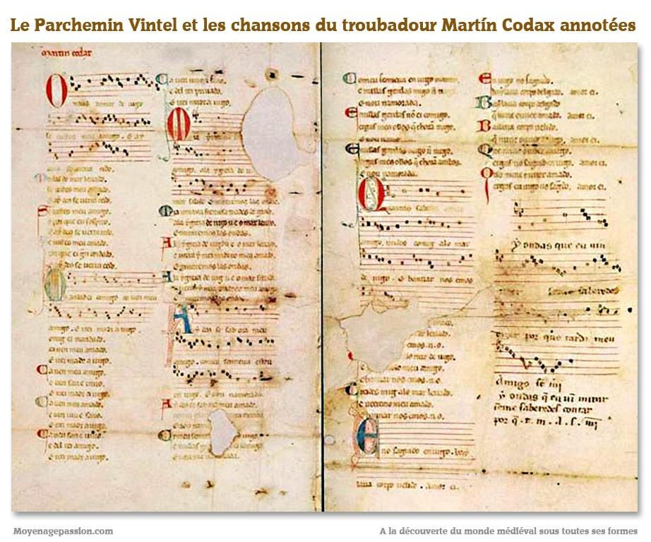 parchemin_vintel_poesie_chanson_medievale_amour_courtois_cantigas_amigo_galaico-portugaise_martin_codax
