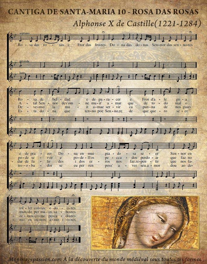 cantiga_de_santa_maria_10_rosa_das_rosas_culte_mariale_partition_musique_chanson_medievale_XIIIe_siecle
