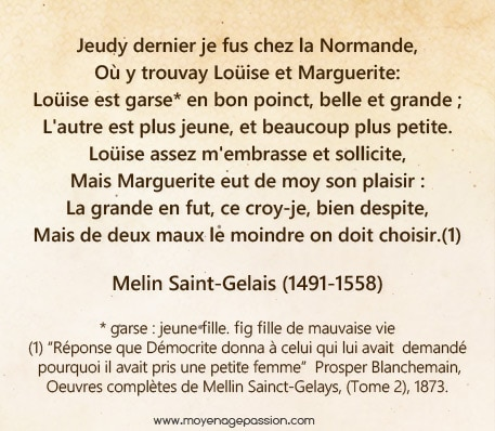 melin_saint_gelais_dizain_poesie_ancienne_gallarde_grivoise_renaissance_XVIe