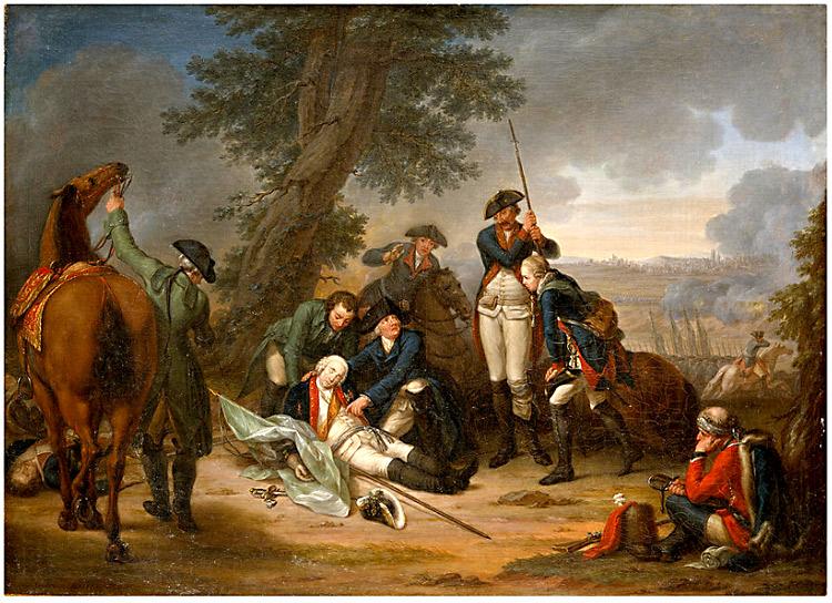 Bataille de Prague 1757, mort du Maréchal Von Schwerin sur le champ de bataille, peinture de Johann Christoph Frisch (1738-1815)