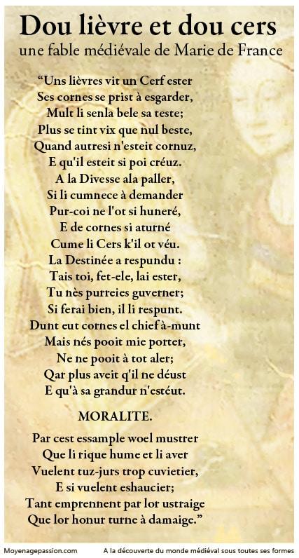 fable_medievale_poesie_ysopet_lievre_cerf_marie_de_france_moyen-age_central_vieux_francais_oil