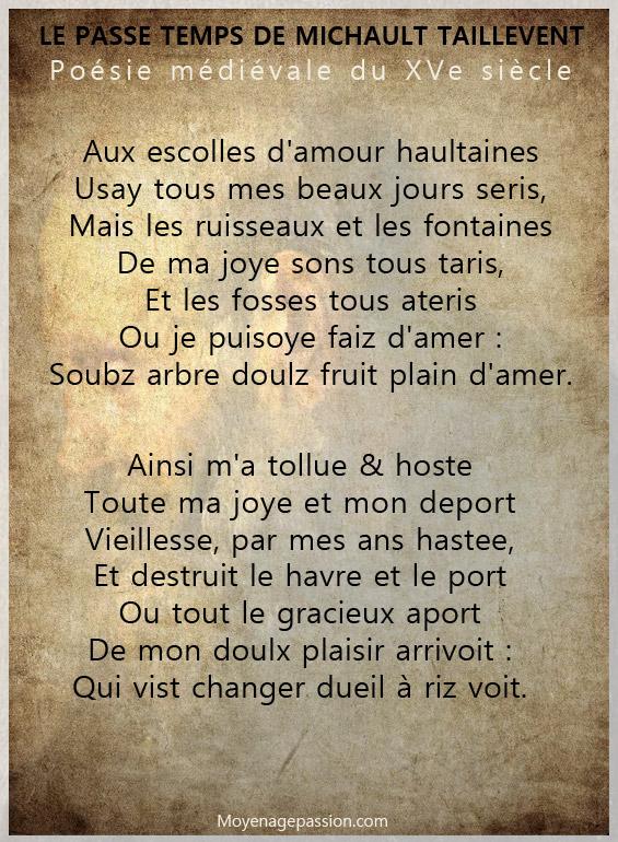 poesie_medievale_moyen-francais_michault_caron_taillevent_passe_temps_XVe_siecle_moyen-age