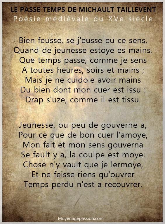 poesie_poete_medieval_moyen-francais_michault_caron_taillevent_passe_temps_XVe_siecle_moyen-age