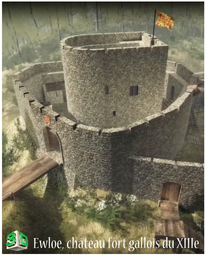 Ewloe_chateau_fort_architecture_medievale_reconstitution_3D_angleterre_moyen-age