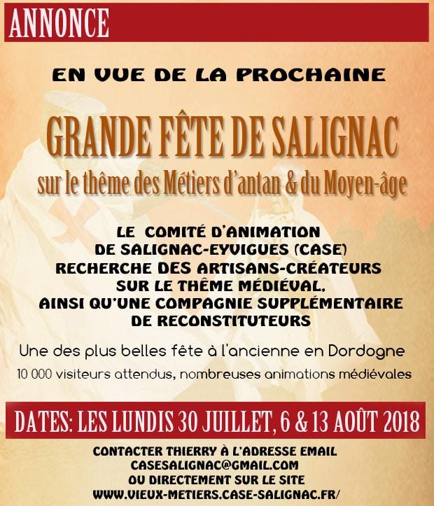 annonce_fetes_medievales_dordogne_salignac_recherche_artisans_reconstituteur_moyen-age_marche_medieval