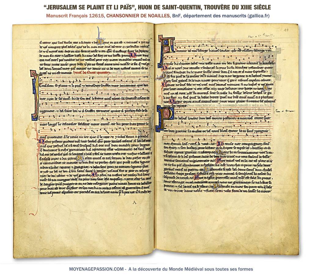 Jerusalem se plaint, sirvantois de Huon de Saint-Quentin dans le MS 12615 de la BnF