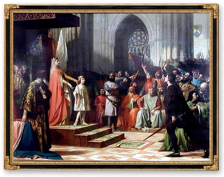 1295, la Reine Maria de Molina présente son fils Ferdinand IV à la cour de Valladolid, par Antonio Gisbert Pérez (1863)